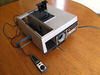 Slide Projector (with 15 magazines), Projection Screen, & Compact Slide Viewer.