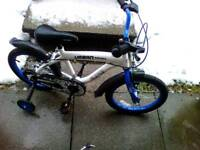 "Boys bike 16"" urban racer with stabilisers and helmet"