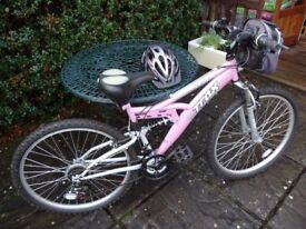 Ladies Pink Fully Sprung Mountain Bike plus Accessories - Perfect Christmas Present