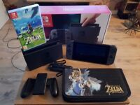 Nintendo Switch with Zelda & Case