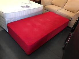 Red sprung single divan bed base (no mattress)