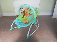 Bright Starts Peek-a-zoo baby rocker / bouncer (from birth to 18kg)
