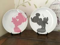 Mickey and Minnie Mouse decorative plates