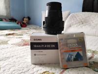 Sigma 16mm 1.4 lens for Sony E-Mount APSC
