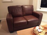 Two seater leather sofa x2