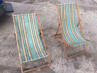 Old wooden deck chairs