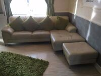 Leather corner sofa in cream colour. Good used condition. Viewing welcome. £100