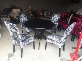 stunning dark grey/silver velvet crush chairs and round table . table and legs can be changed