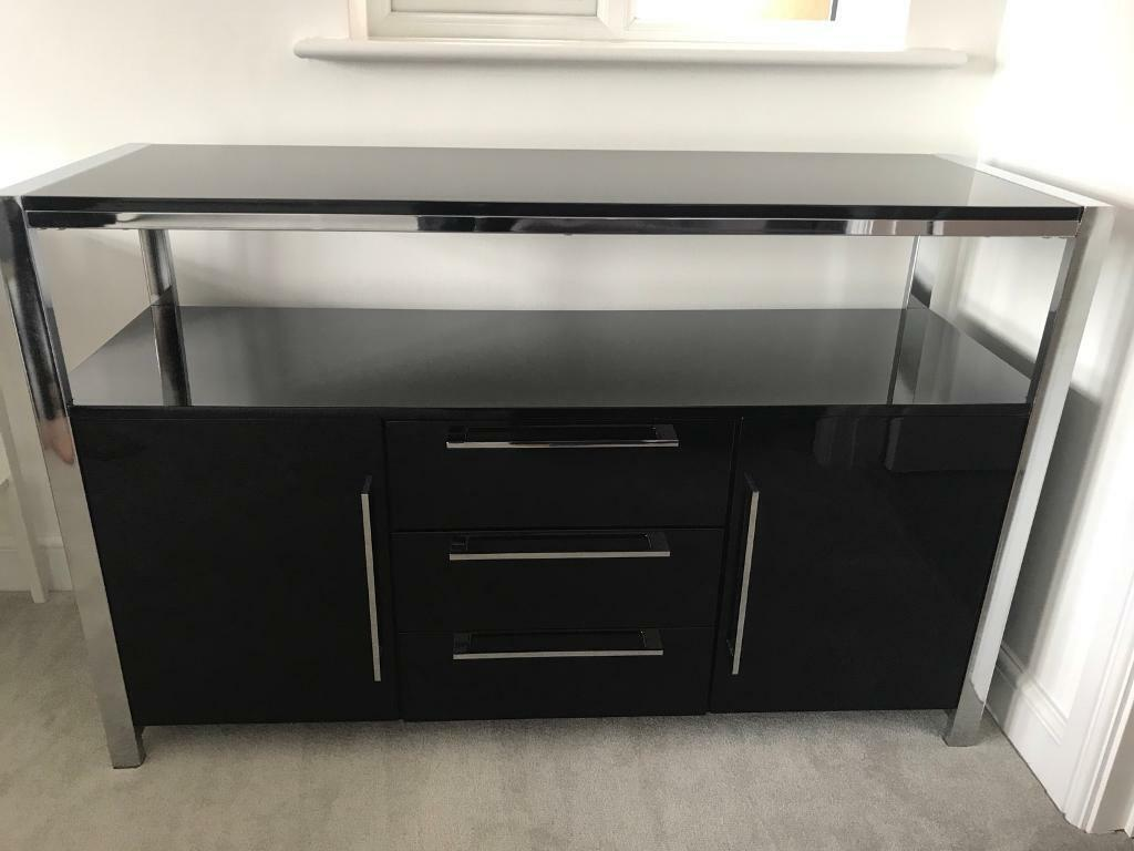 Black and Silver TV Media Storage Unit