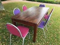 Solid 6ft Varnished Oak Wood Conference/Dining Table & 6 Chairs (8 Sets Available)