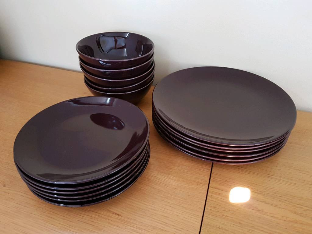Ikea Purple Dinner Set Plates Bowls Dinnerware Tableware