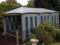 Wooden Gazebo Frame with roof & wall covers 10ft x 10ft x 20ft - dismantled