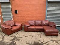 Leather Corner sofa & armchair delivery 🚚 sofa suite couch furniture