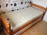 Pine single bed with pull out single underneath