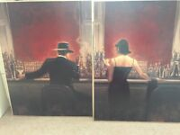 Classic two pictures of a man and lady in bar