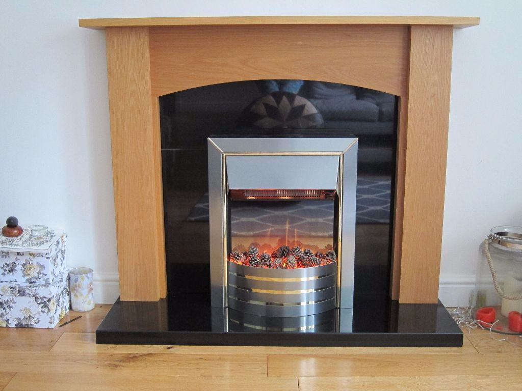 fireplace dimplex siva electric fire with oak surround u0026 black