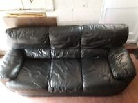 3 Seater Black Leather Sofa ** FREE! Collection only. **