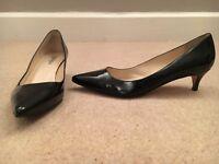 Black, patent leather kitten heels, size 40