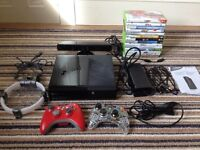 X Box 360 500GB with 2 controllers, Kinect, and 14 games including FIFA 16, W2K16, Minecraft & more