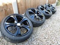 "17"" WOLFRACE ALLOY WHEELS & NEW TYRES *REFURBED* 4x100 mini vauxhall vw honda"