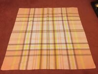 """Lovely Seersucker Tablecloth in Shades of Yellow/Orange approximately 45"""" x 47"""" Very Good Condition"""