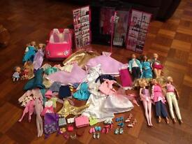 LARGE BARBIE / OTHER DOLL BUNDLE WITH WARDROBE , CAR AND MORE!