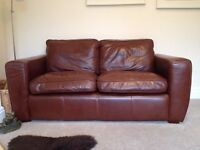 Soft brown leather Laura Ashley 2 Seater Sofa. Good condition.