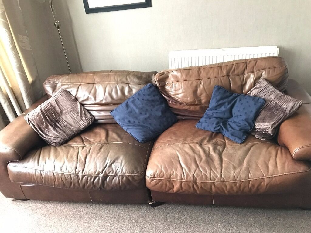 Brown Leather 3 seater Sofa FREE