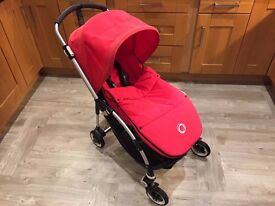 Bugaboo Bee Plus with full set of red accessories and maxi cosi car seat adapters