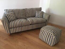 Laura Ashley Blue Striped Sofa and Soft Footstool