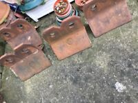 Vintage/Victorian Reclaimed red clay 2 hole crested decorative ridge tiles X 12