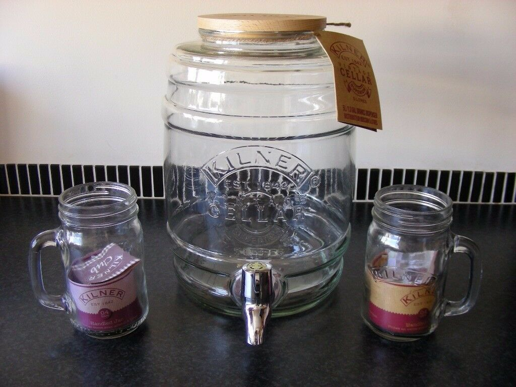 Kilner 5L Dispenser Tap Jar Large Glass Party Barrel Storage Container & 2 Mugs