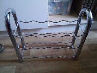 Stylish metal wine rack (holds 12 bottles)