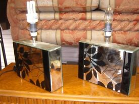 Pair of Mirrored Cube Shaped Lamps