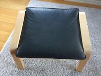 Green Leather Poang Chair & footstool Ikea