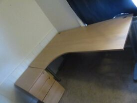 IKEA wooden corner desk with draw unit. Good used condition