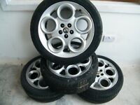 """Alfa Romeo Spider 916/GTV Alloy Wheels 17"""" (teledials) and Tyres Good Used Condition x 4"""