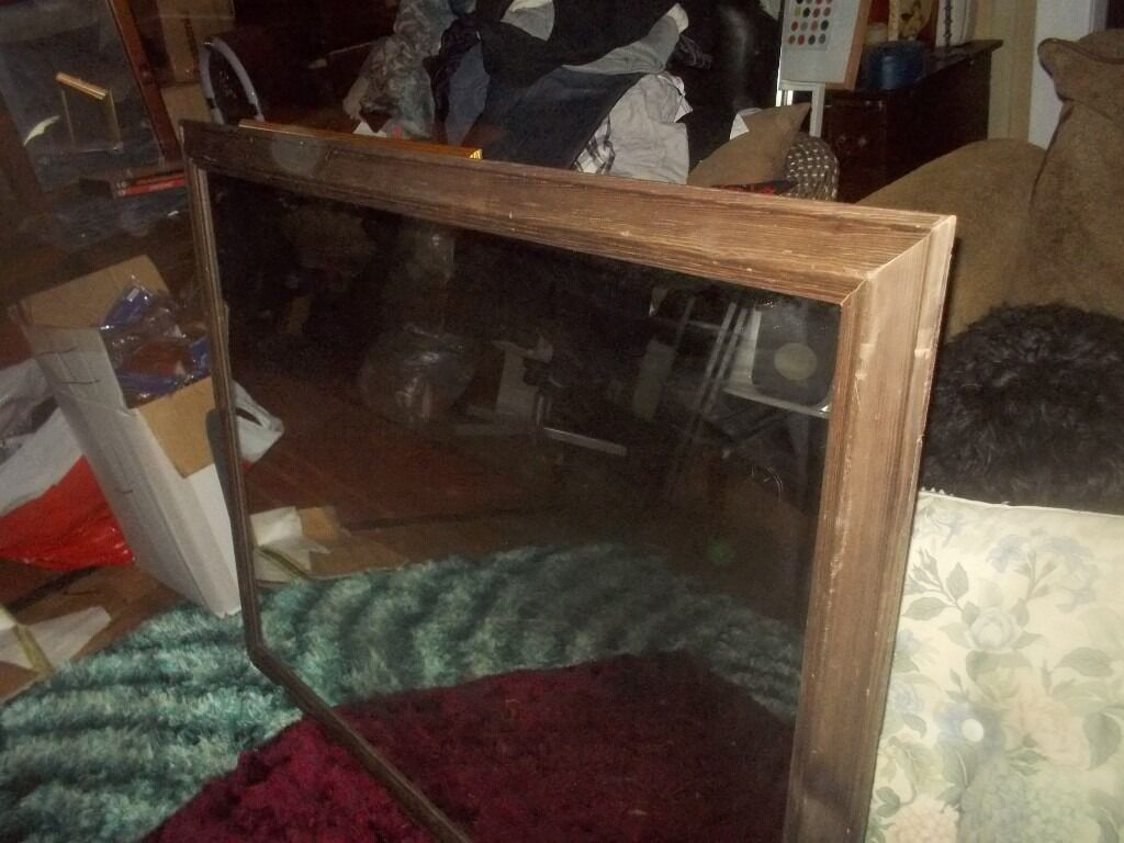* REDUCED * LARGE RECTANGLE MIRROR - DARK WOOD SURROUND * 4ft x 3ft CLACTON ON SEA - CO15 6AJ