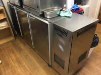 3 door counter fridge with shelfs, full working order