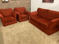 Sofa bed 2 armchairs and footstool