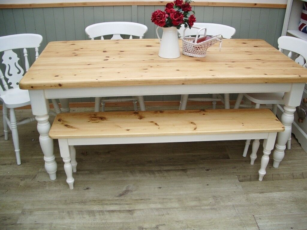 Stunning Pine Country Farmhouse 6ft Table Chair and Bench Set.