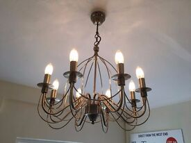 Chandelier with warm LED bulbs and dimmer switch