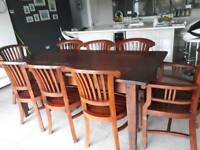 Solid wood dining table 8 chairs 2 x carver