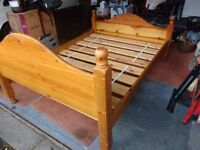 Double pine bed frame for sale