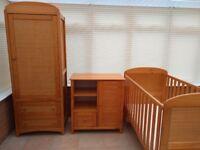 East Coast Antique Pine Three Piece Nursery Furniture Set