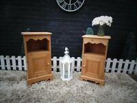 PAIR OF SOLID PINE FARMHOUSE BEDSIDE CABINETS BEAUTIFUL HANDMADE DETAILS VERY SOLID SET