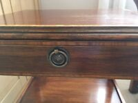Mahogany and inlaid bedside tables (pair) - Regency style