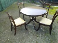 Mahogany Extending Round Table On Casters & 4 Chairs
