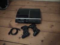 PS3 ('fat' style) 320GB (upgraded from 40GB), two SixAxis controllers, HDMI lead, plus 10 games