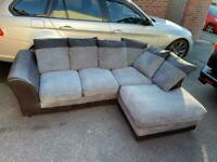Grey and black corner sofa with matching cuddle chair